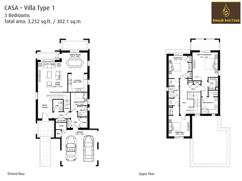 Casa floor plans casa villa for sale and rent in dubai for Villa architecture design plans