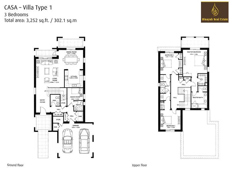 Casa villa for sale and rent in dubai for Villa design floor plan